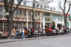 Outdoor cafe on the street Royalty Free Stock Photography