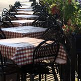 Outdoor Cafe Table Settings. Located outside a bistro in San Francisco royalty free stock photos