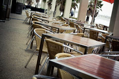 Outdoor cafe tables Royalty Free Stock Photos