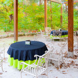 Outdoor cafe terrace at autumn. Royalty Free Stock Photos