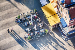 Outdoor Cafe - Top View With People Walking By
