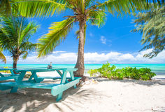 Outdoor cafe on tropical beach at Caribbean Stock Image