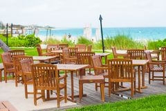 Outdoor cafe on tropical beach at Caribbean Stock Photos