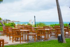 Outdoor cafe on tropical beach at Caribbean Stock Images