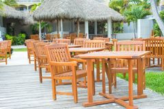Outdoor cafe on tropical beach at Caribbean Royalty Free Stock Photos