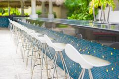 Outdoor cafe on tropical beach at Caribbean Royalty Free Stock Image