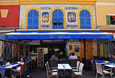 Outdoor cafe with typical french cuisine Stock Images
