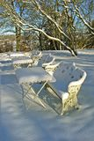 Outdoor cafe in winter stock photos