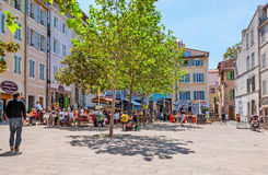 The outdoor cafes of Panier Royalty Free Stock Images