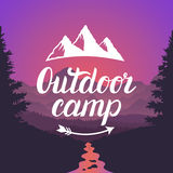 Outdoor camp logo. Outdoor camp emblem. Design lettering typography on mountain landscape background. Stock Images