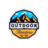 Outdoor camp and mountains logotype, outdoor adventures modern colorful badge. With rocky shape, clouds and wooden textured place for texts royalty free illustration