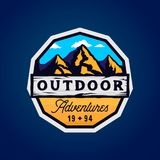 Outdoor camp and mountains logotype, outdoor adventures modern colorful badge. With rocky shape, clouds and wooden textured place for texts vector illustration
