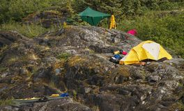 Outdoor camp on the rocks. Royalty Free Stock Image