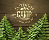 'Outdoor camp, your best vacation' sign with green fern leafs on wooden background. Realistic vector illustration Stock Photography