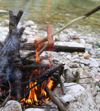 Outdoor Campfire for cooking meat and sausages Royalty Free Stock Image