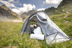 Outdoor camping in the alps Royalty Free Stock Image