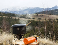 Outdoor camping cooking Stock Image