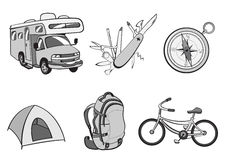 Outdoor and camping icons Royalty Free Stock Photo