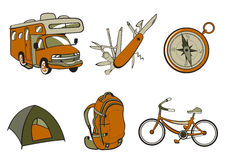 Outdoor and camping icons. Vector illustration of Outdoor and camping icons. Includes icons of  compass, Travel Trailer, penknife, tent, rucksack and bicycle Stock Image