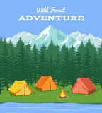 Outdoor camping. Nature background with river and forest, mountains camp tent vector illustration. Outdoor camping. Nature background with river and forest stock illustration