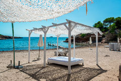 Outdoor canopy. Ibiza nudist beach. Balearic Islands. Spain Stock Photo
