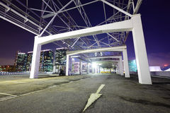 Outdoor car parking lot. At night Royalty Free Stock Photography