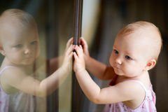 Outdoor casual portrait of baby girl Stock Photography