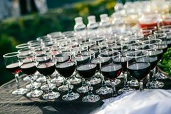 Outdoor catering. Outside of the wine catering for guests of the event Stock Images