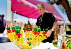 Outdoor catering and cocktail. Food events and celebrations.Fruit. Catering and cocktail outdoors. Food events and celebrations with carp. fruit royalty free stock photos