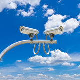 Outdoor cctv camera against blue sky Royalty Free Stock Images