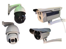 Outdoor CCTV Group of monitoring, security cameras  isolated on. White background Stock Photos
