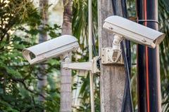 Outdoor CCTV on poles Stock Photos