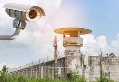 Outdoor CCTV security camera or surveillance system operating at prison guard tower. In sunny day Royalty Free Stock Photography