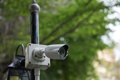 Outdoor CCTV security video camera royalty free stock photo