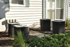 Outdoor central air conditioner units royalty free stock photography