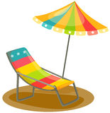 Outdoor chair and umbrella. Illustration of isolated outdoor chair and umbrella on white Stock Photo