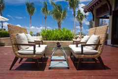 Outdoor chairs in a resort Stock Images