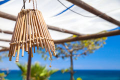 Outdoor chandelier made of bamboo tubes Stock Photo