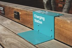 Charging station for cell phones stock image