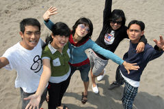 Outdoor cheerful. Asian young group outdoor cheerful stock photos