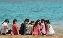 Outdoor cheerful. Asian young group cheerful at beach stock photo