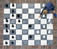Outdoor chess board from above Royalty Free Stock Photos