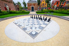 Outdoor chess board, in Amsterdam (super wide angle) Stock Images