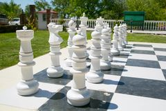 Outdoor chess. Board with the big figures Royalty Free Stock Photography