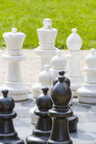 Outdoor chess board with big life sized pieces Stock Photo