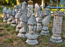 Outdoor chess pieces Stock Images
