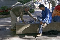 Outdoor chess players royalty free stock photography