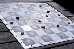 Outdoor chess. With stones instead of figures Royalty Free Stock Image