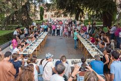 Outdoor Chess Tournament in Salamanca, Spain stock photo