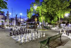 Outdoor chessgame, Bastions park, Geneva Royalty Free Stock Photos